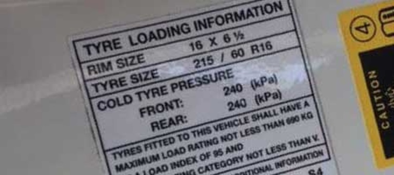 Step 1 Check the recommended tyre pressure